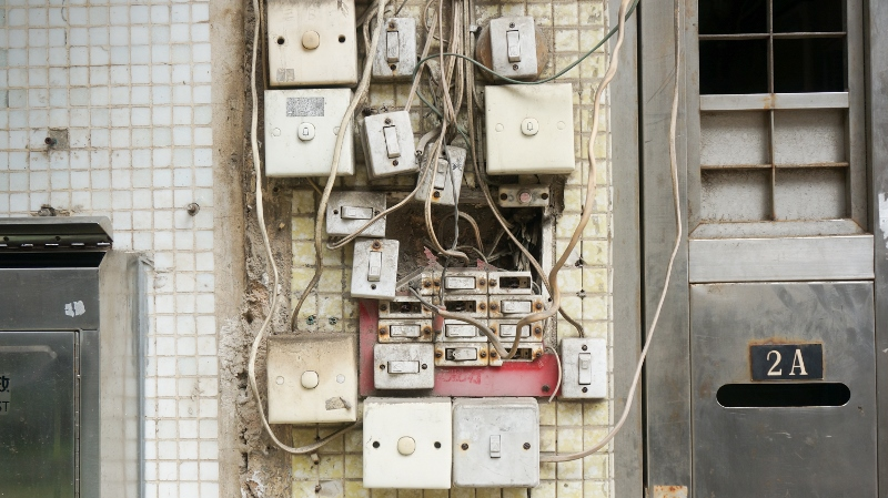 Switches with exposed electrical wiring